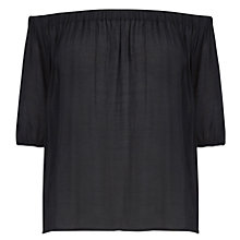 Buy Oasis Gypsy Bardot Top, Black Online at johnlewis.com