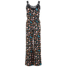 Buy Miss Selfridge Floral Crochet Trim Jumpsuit, Black Multi Online at johnlewis.com