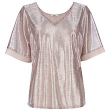 Buy Oasis Foiled Kimono T-Shirt, Mid Pink Online at johnlewis.com