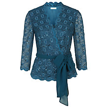 Buy Jacques Vert Lace Cross Front Top, Blue Online at johnlewis.com