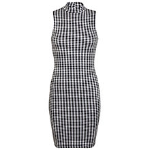 Buy Miss Selfridge Gingham High Neck Dress, Black/White Online at johnlewis.com