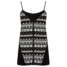 Buy Oasis Geometric Zanzibar Print Cami Top, Black/White Online at johnlewis.com