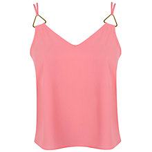 Buy Miss Selfridge Petite Triangle Trim Cami, Pink Online at johnlewis.com