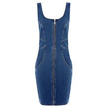 Buy Warehouse Zip Front Denim Bodycon Dress, Blue Online at johnlewis.com
