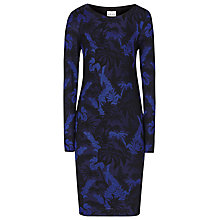 Buy Reiss Jacquard Jersey Dress, Black/Blue Online at johnlewis.com