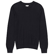 Buy Reiss Emporer Merino Wool V-Neck Jumper, Navy Online at johnlewis.com