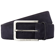 Buy BOSS Cansian Suede Leather Belt, Navy Online at johnlewis.com
