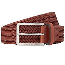 Buy BOSS Semy Woven Leather Belt, Brown Online at johnlewis.com