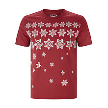 Buy Original Penguin Scatter Snowflake Print T-Shirt, Pomegranate Online at johnlewis.com