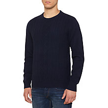 Buy Original Penguin Dour Lambswool Cable Knit Jumper, Black Iris Online at johnlewis.com