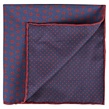 Buy Aquascutum Marron Linen Floral Pocket Square, Blue/Red Online at johnlewis.com