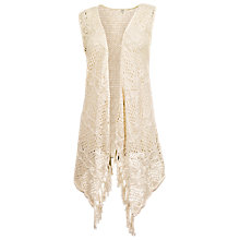 Buy Fat Face Crochet Waterfall Cardigan, Ivory Online at johnlewis.com