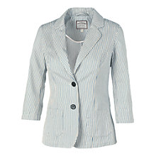 Buy Fat Face Washed Ticking Stripe Blazer, Blue/White Online at johnlewis.com