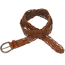 Buy Fat Face Leather Plait Belt, Dark Tan Online at johnlewis.com