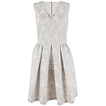Buy Almari Floral Jacquard V-Neck Dress, Grey Online at johnlewis.com