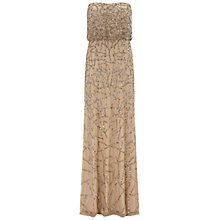 Buy Adrianna Papell Wedding Long Beaded Dress, Taupe/Pink Online at johnlewis.com