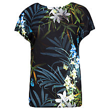 Buy Ted Baker Sazia Twilight Floral Top, Black Online at johnlewis.com