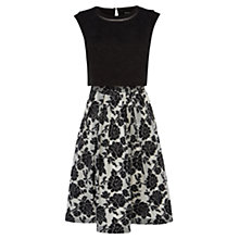 Buy Karen Millen Graphic Rose Dress, Black/White Online at johnlewis.com