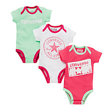 Buy Converse Baby's Starflower Bodysuit, Pack of 3, Pink Online at johnlewis.com