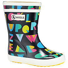 Buy Aigle Baby Flac Marine Letters Wellington Boots, Black/Multi Online at johnlewis.com
