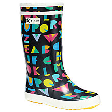 Buy Aigle Lolly Pop Kids Marine Letters Wellington Boots, Black/Multi Online at johnlewis.com