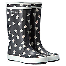 Buy Aigle Lolly Pop Print Wellington Boots, Black/White Online at johnlewis.com