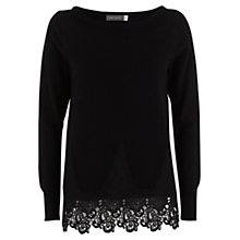 Buy Mint Velvet Lace Hem Knit Top,  Black Online at johnlewis.com