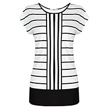 Buy Oasis Double Stripe T-Shirt, Black / White Online at johnlewis.com
