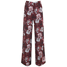 Buy Miss Selfridge Floral Wide Leg Trousers, Burgundy Online at johnlewis.com