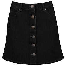 Buy Miss Selfridge Denim Button Through Skirt, Black Online at johnlewis.com