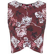 Buy Miss Selfridge Floral Wrap Front Shell Top, Burgundy Online at johnlewis.com