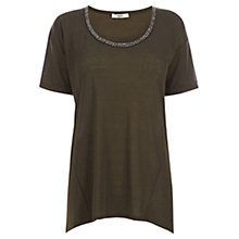 Buy Oasis Neppy Embellished T-Shirt, Khaki Online at johnlewis.com