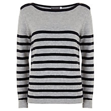 Buy Mint Velvet Stripe Zip Knit Top, Navy / Grey Online at johnlewis.com