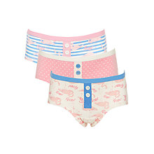Buy John Lewis Girls' Flamingos Shortie Briefs, Pack of 3, Pink/Blue Online at johnlewis.com