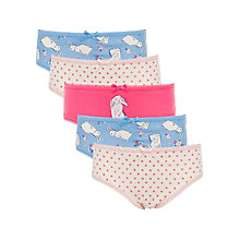 Buy John Lewis Girls' Bunny Briefs, Pack of 5, Multi Online at johnlewis.com