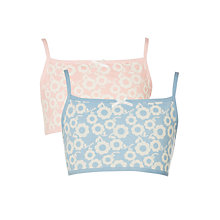 Buy John Lewis Girls' Bold Floral Crop Top, Pack of 2, Pink/Blue Online at johnlewis.com
