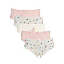 Buy John Lewis Girls' Vintage Floral Print Briefs, Pack of 5, Pink/Cream Online at johnlewis.com
