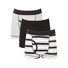 Buy John Lewis Boys' Trunks, Pack of 3, Black/Grey Online at johnlewis.com