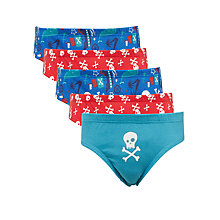 Buy John Lewis Boys' Pirate Pants, Pack of 5, Blue/Red Online at johnlewis.com