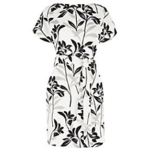 Buy Warehouse Mono Floral Belted Dress, Neutral Print Online at johnlewis.com