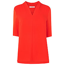 Buy L.K. Bennett Vesta Pleat Neck Top, Cardinal Red Online at johnlewis.com