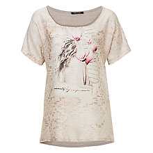 Buy Betty Barclay Print Satin Knitted Top, Cream/Taupe Online at johnlewis.com