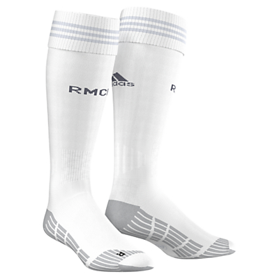 Adidas 2015/16 Real Madrid Home Football Socks, White/Clear Grey