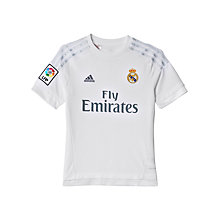 Buy Adidas 2015/16 Real Madrid Home Boys' Football Shirt, White/Clear Grey Online at johnlewis.com