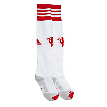 Buy Adidas Children's Manchester United 2015/16 Home Change Football Socks, White/Red Online at johnlewis.com
