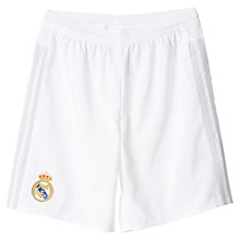 Buy Adidas 2015/16 Real Madrid Home Boys' Football Shorts, White/Clear Grey Online at johnlewis.com
