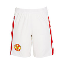 Buy Adidas 2015/16 Manchester United Boys' Home Shorts, White Online at johnlewis.com