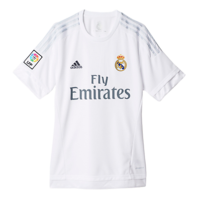 Adidas 2015/16 Real Madrid Home Football Shirt, White/Clear Grey