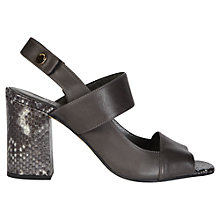 Buy Whistles Moko High Block Heeled Sandals, Dark Grey Online at johnlewis.com