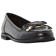 Buy Dune Glimmer Bow Detail Loafers, Black Leather Online at johnlewis.com